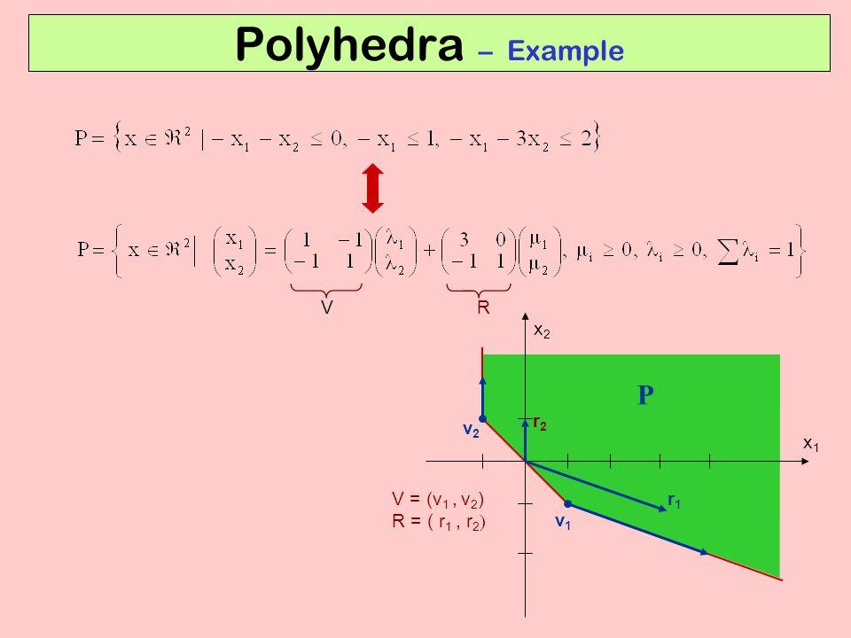 Polyhedra – Example V = (v 1, v 2 ) R = ( r 1, r 2  v2v2 v1v1 r2r2 r1r1 P x1x1 x2x2 RV
