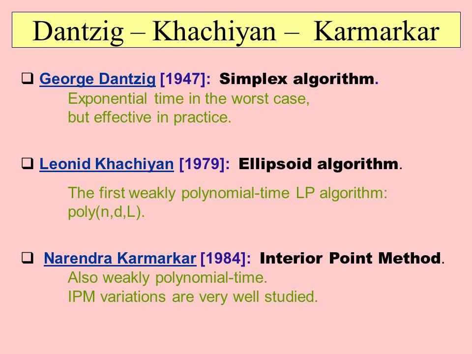  George Dantzig [1947]: Simplex algorithm. Exponential time in the worst case, but effective in practice.George Dantzig  Leonid Khachiyan [1979]: El