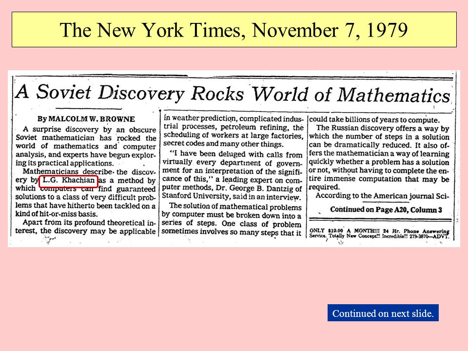 The New York Times, November 7, 1979 Continued on next slide.