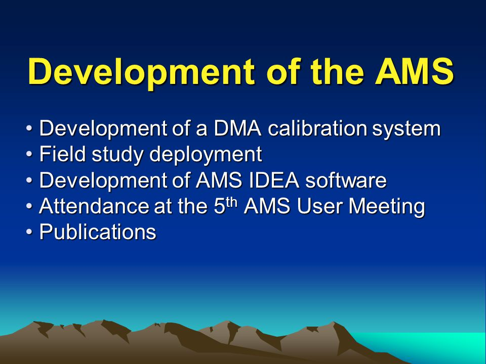 Development of the AMS Development of a DMA calibration system Development of a DMA calibration system Field study deployment Field study deployment Development of AMS IDEA software Development of AMS IDEA software Attendance at the 5 th AMS User Meeting Attendance at the 5 th AMS User Meeting Publications Publications