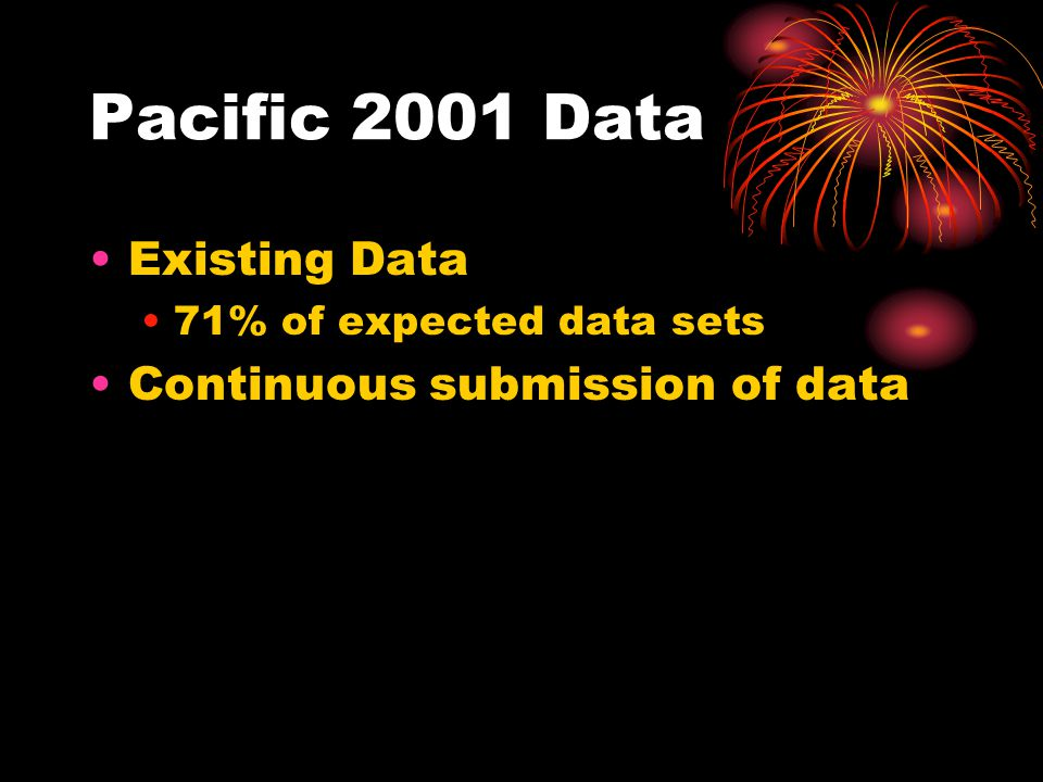 Pacific 2001 Data Existing Data 71% of expected data sets Continuous submission of data