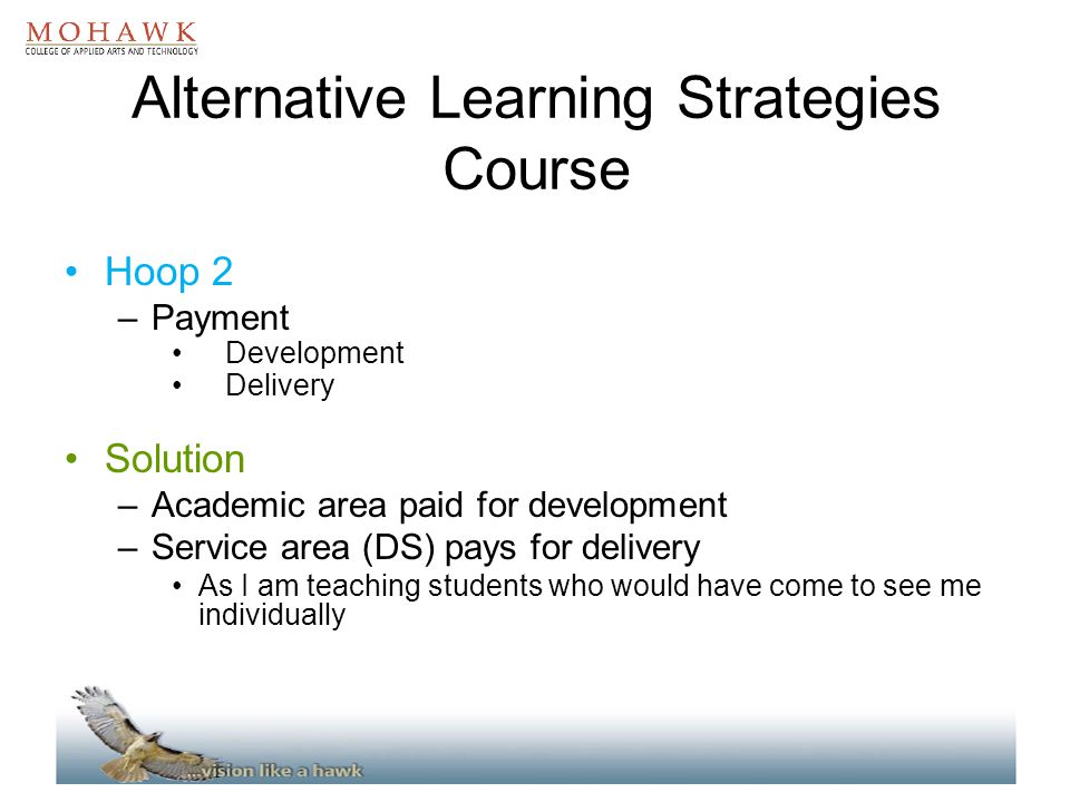 Alternative Learning Strategies Course Hoop 2 –Payment Development Delivery Solution –Academic area paid for development –Service area (DS) pays for d