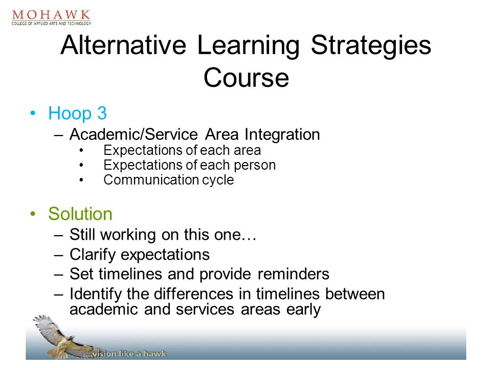 Alternative Learning Strategies Course Hoop 3 –Academic/Service Area Integration Expectations of each area Expectations of each person Communication c