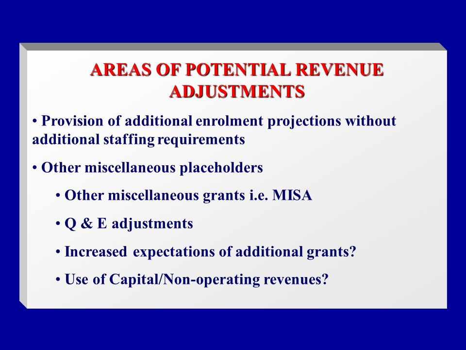 AREAS OF POTENTIAL REVENUE ADJUSTMENTS Provision of additional enrolment projections without additional staffing requirements Other miscellaneous placeholders Other miscellaneous grants i.e.
