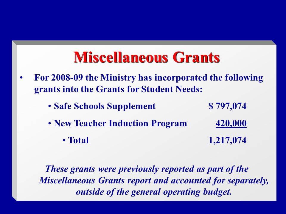 Miscellaneous Grants For the Ministry has incorporated the following grants into the Grants for Student Needs: Safe Schools Supplement$ 797,074 New Teacher Induction Program420,000 Total1,217,074 These grants were previously reported as part of the Miscellaneous Grants report and accounted for separately, outside of the general operating budget.