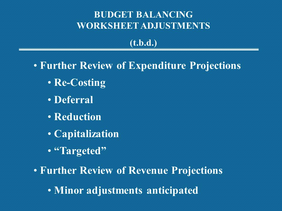 BUDGET BALANCING WORKSHEET ADJUSTMENTS (t.b.d.) Further Review of Expenditure Projections Re-Costing Deferral Reduction Capitalization Targeted Further Review of Revenue Projections Minor adjustments anticipated