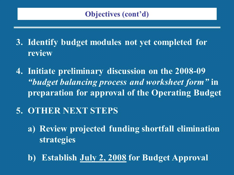 Objectives (cont'd) 3.Identify budget modules not yet completed for review 4.Initiate preliminary discussion on the 2008-09 budget balancing process and worksheet form in preparation for approval of the Operating Budget 5.OTHER NEXT STEPS a)Review projected funding shortfall elimination strategies b) Establish July 2, 2008 for Budget Approval