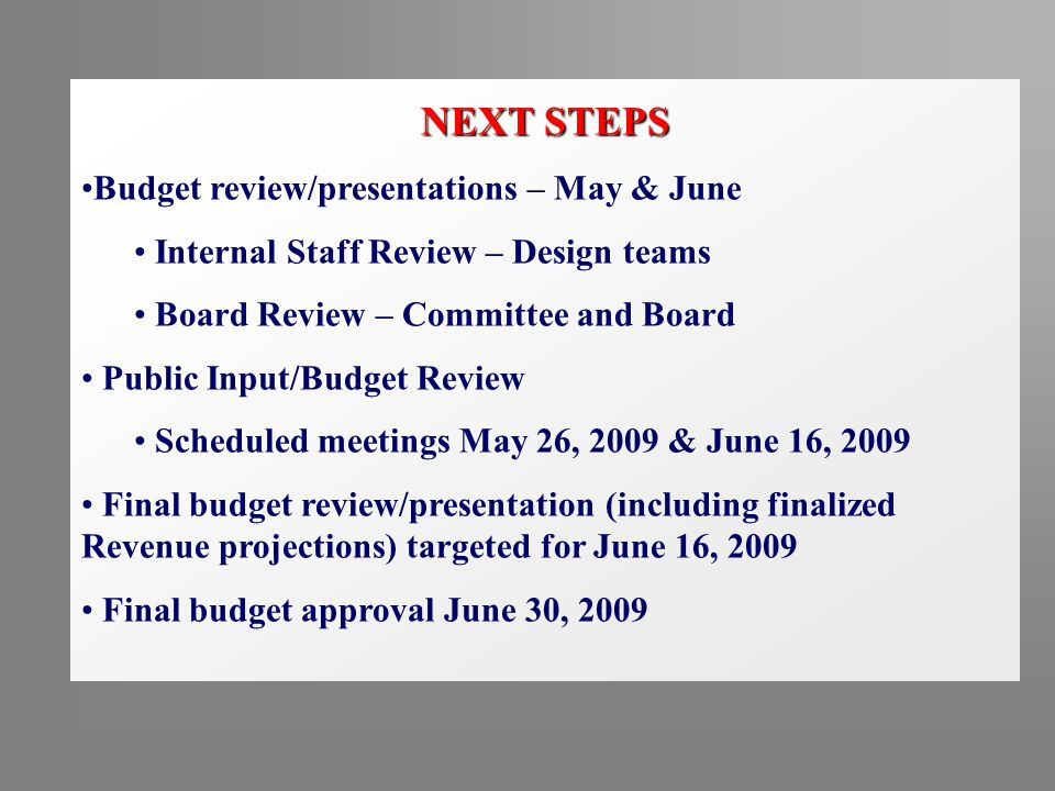 NEXT STEPS Budget review/presentations – May & June Internal Staff Review – Design teams Board Review – Committee and Board Public Input/Budget Review