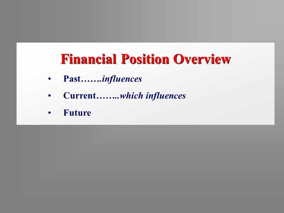 Financial Position Overview Past…….influences Current……..which influences Future