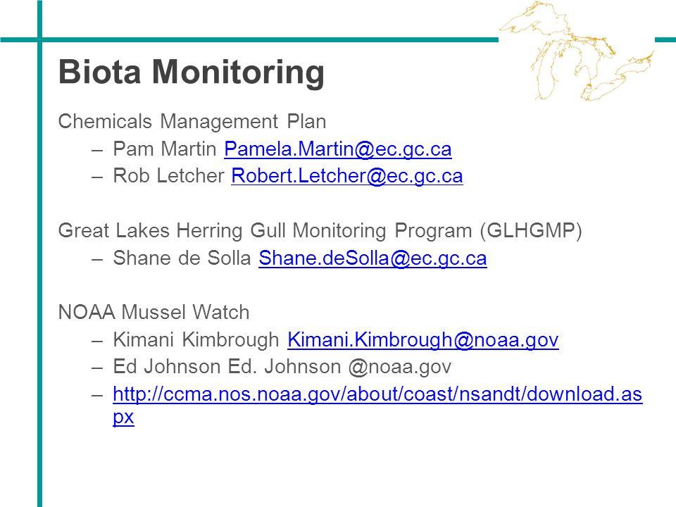 Biota Monitoring Chemicals Management Plan –Pam Martin Pamela.Martin@ec.gc.caPamela.Martin@ec.gc.ca –Rob Letcher Robert.Letcher@ec.gc.caRobert.Letcher