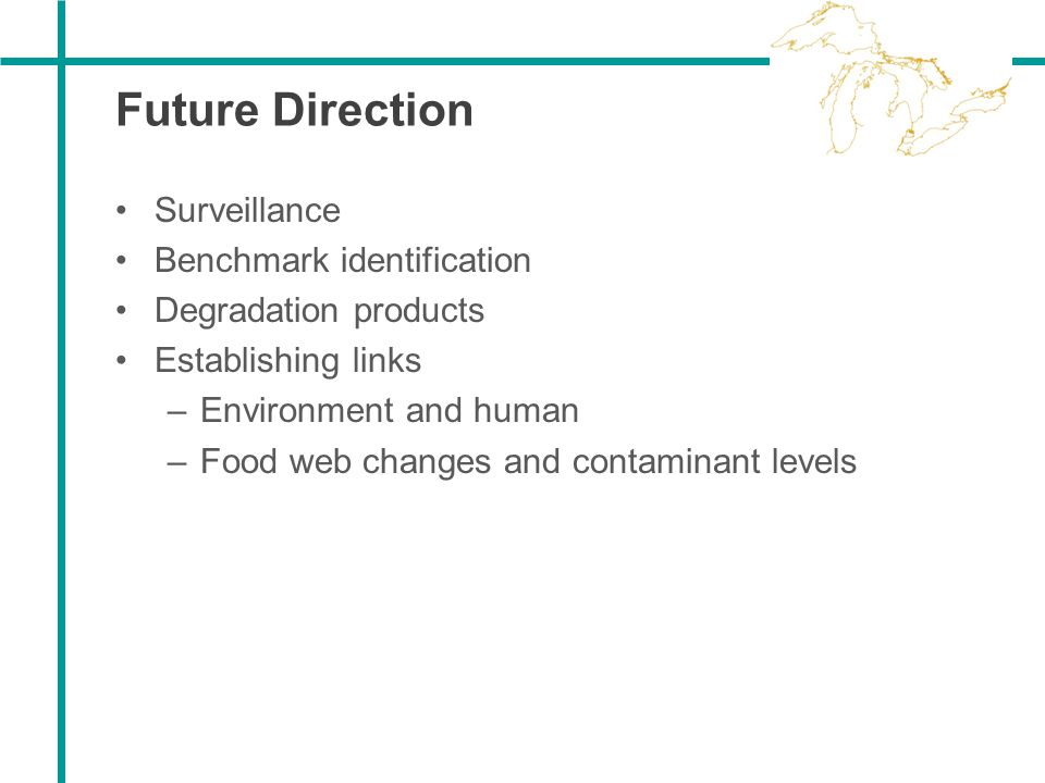 Future Direction Surveillance Benchmark identification Degradation products Establishing links –Environment and human –Food web changes and contaminan