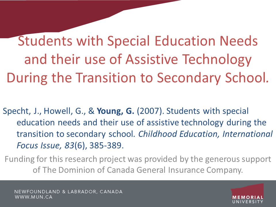 Students with Special Education Needs and their use of Assistive Technology During the Transition to Secondary School.