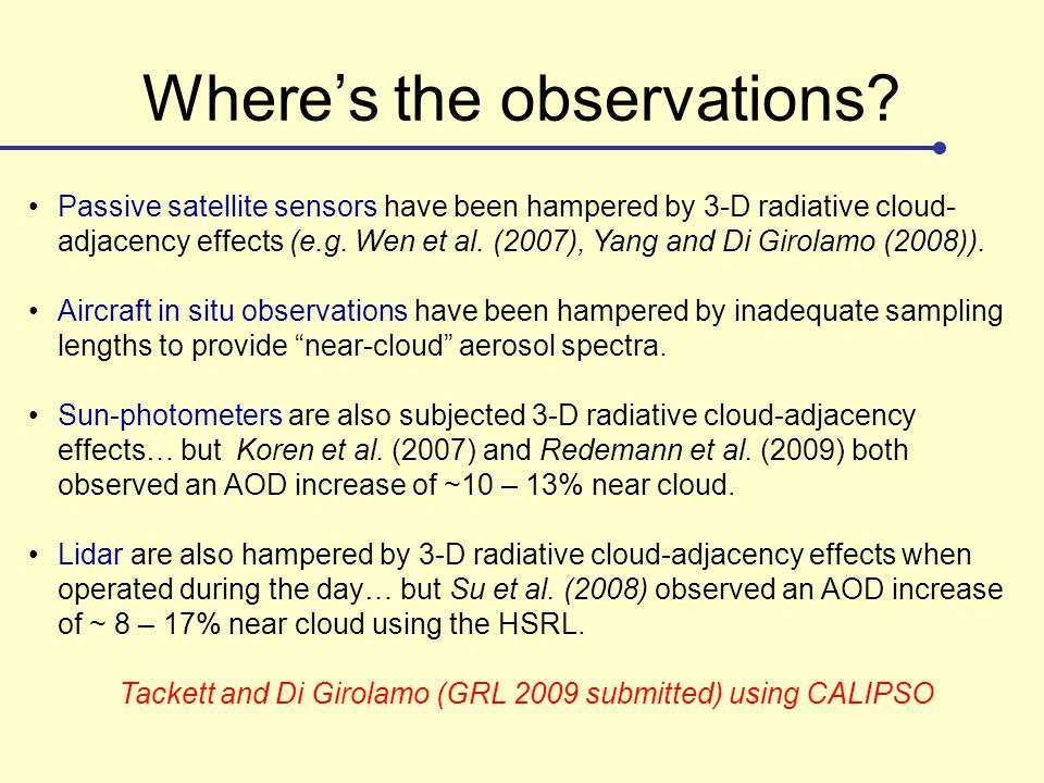 Where's the observations? Passive satellite sensors have been hampered by 3-D radiative cloud- adjacency effects (e.g. Wen et al. (2007), Yang and Di