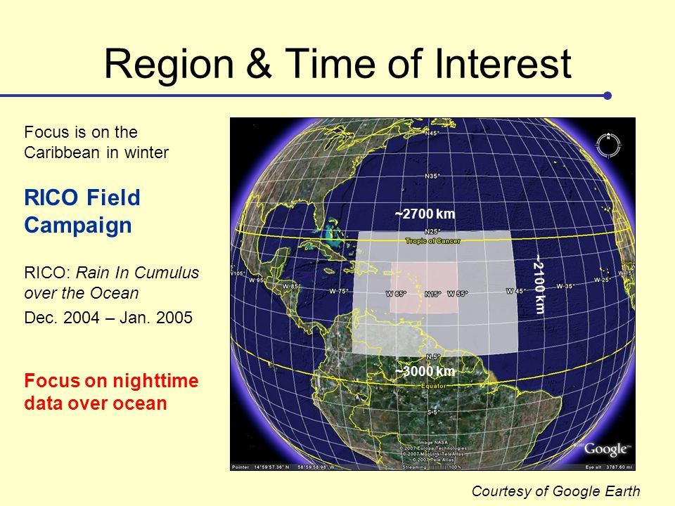 Region & Time of Interest ~2100 km ~2700 km ~3000 km RICO: Rain In Cumulus over the Ocean Focus is on the Caribbean in winter RICO Field Campaign Dec.