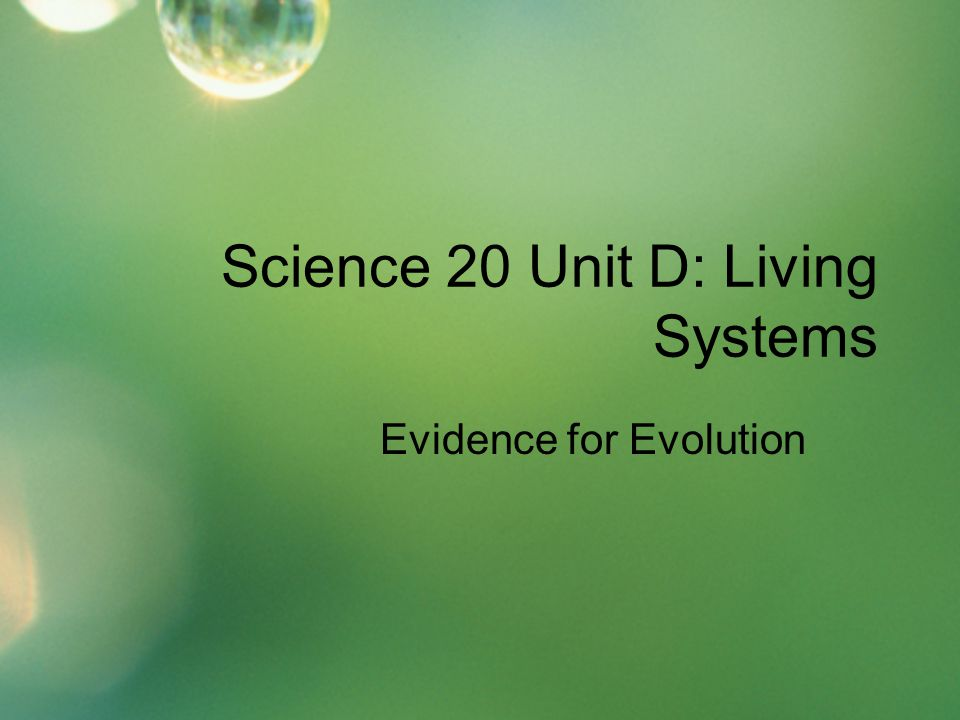 Science 20 Unit D: Living Systems Evidence for Evolution