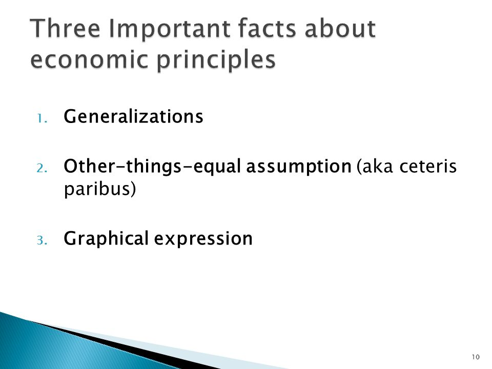 1. Generalizations 2. Other-things-equal assumption (aka ceteris paribus) 3. Graphical expression 10