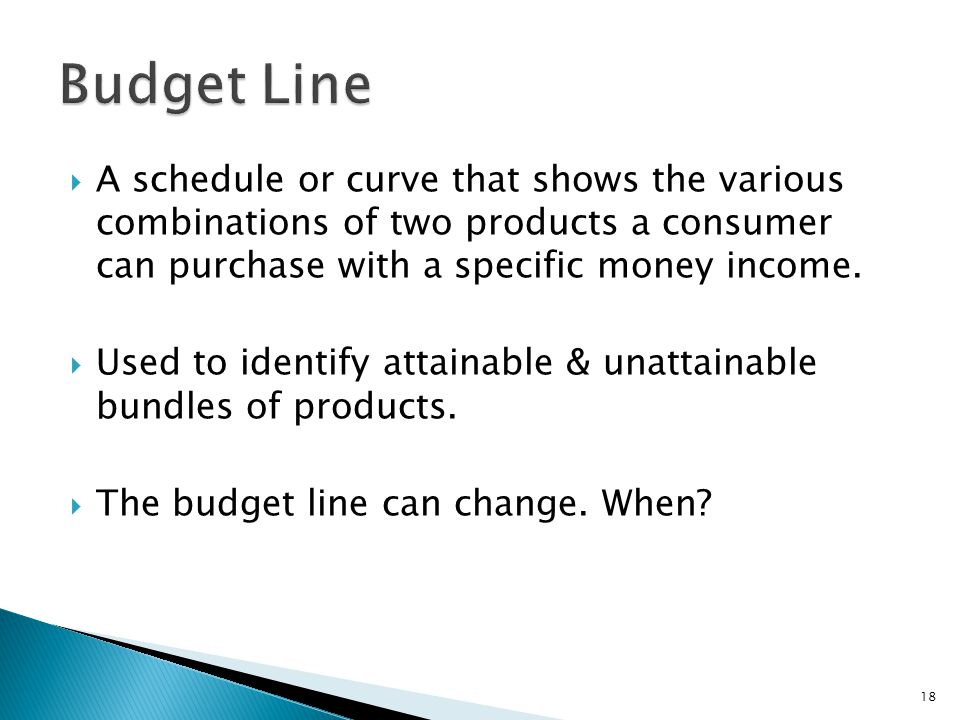  A schedule or curve that shows the various combinations of two products a consumer can purchase with a specific money income.
