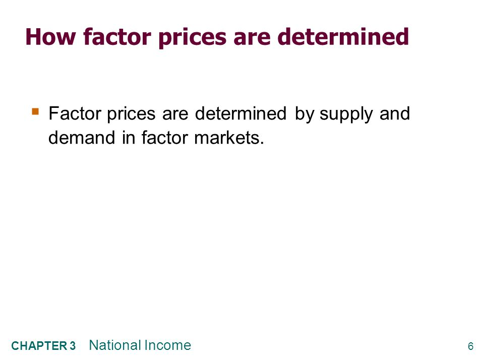 6 CHAPTER 3 National Income How factor prices are determined  Factor prices are determined by supply and demand in factor markets.