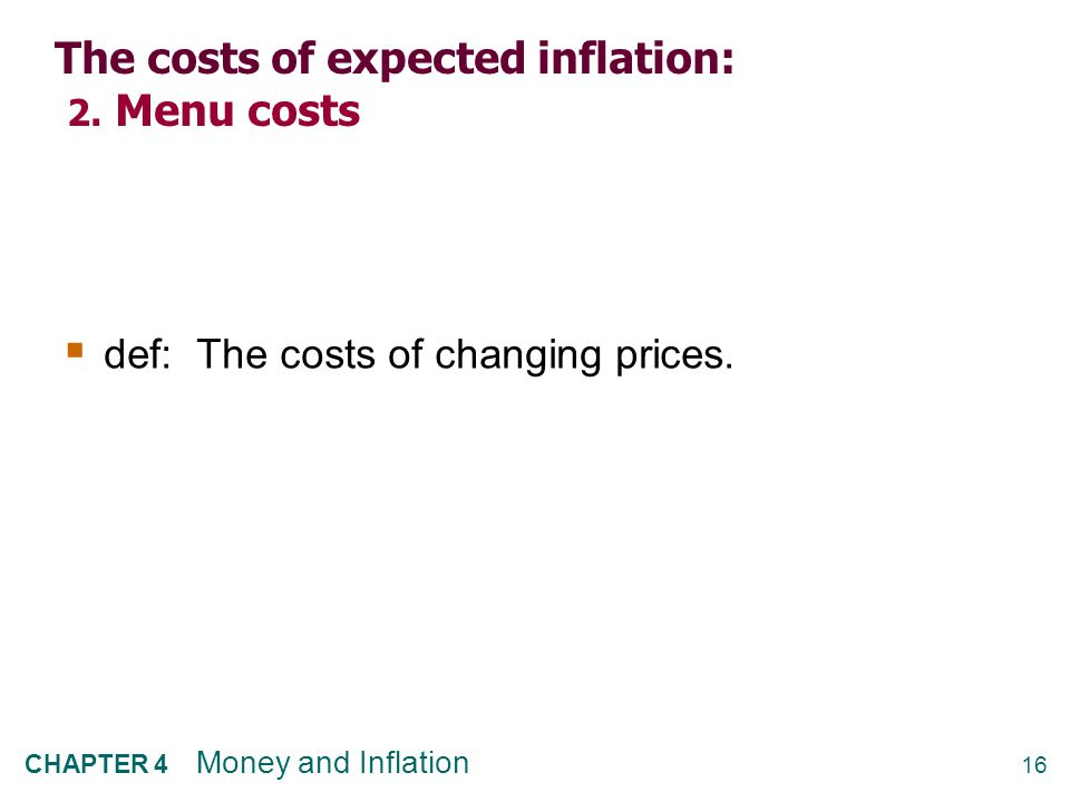 16 CHAPTER 4 Money and Inflation The costs of expected inflation: 2. Menu costs  def: The costs of changing prices.