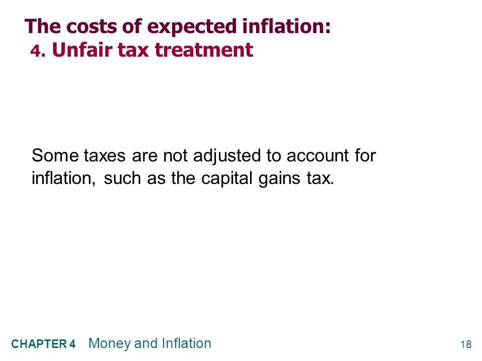18 CHAPTER 4 Money and Inflation The costs of expected inflation: 4. Unfair tax treatment Some taxes are not adjusted to account for inflation, such a