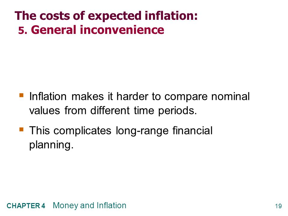 19 CHAPTER 4 Money and Inflation The costs of expected inflation: 5. General inconvenience  Inflation makes it harder to compare nominal values from
