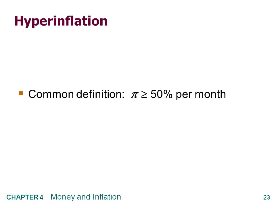 23 CHAPTER 4 Money and Inflation Hyperinflation  Common definition:   50% per month