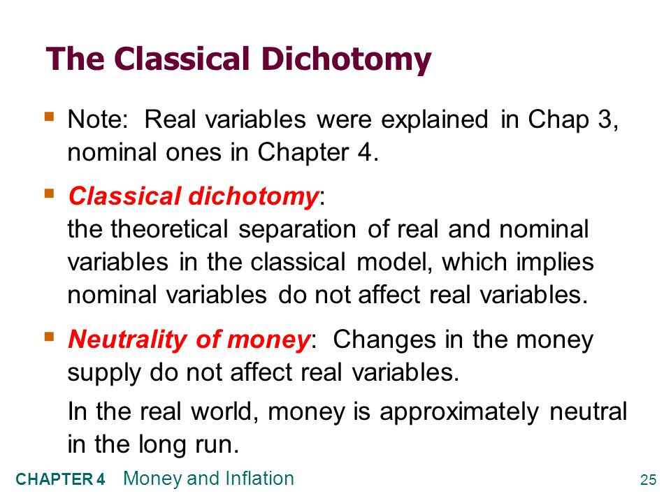 25 CHAPTER 4 Money and Inflation The Classical Dichotomy  Note: Real variables were explained in Chap 3, nominal ones in Chapter 4.  Classical dicho