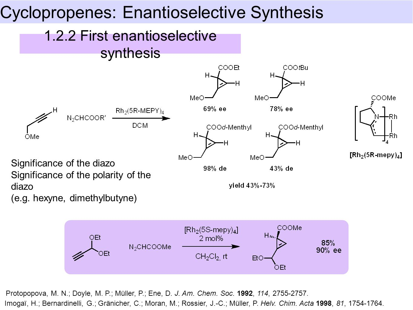 Cyclopropenes: Enantioselective Synthesis First enantioselective synthesis Significance of the diazo Significance of the polarity of the diazo (e.g.