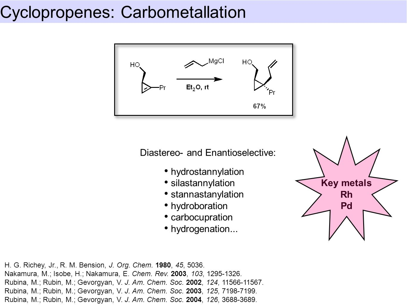 Cyclopropenes: Carbometallation Liao, L.-a.; Fox, J. M. J. Am. Chem. Soc. 2002, 124, 14322-14323.