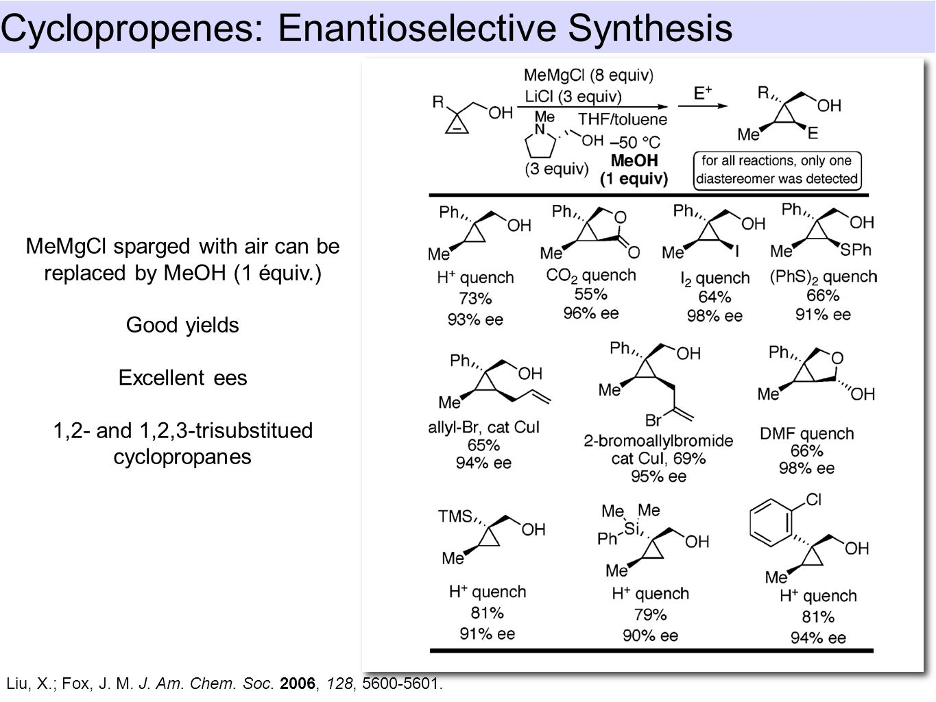 Cyclopropenes: Enantioselective Synthesis Liu, X.; Fox, J. M. J. Am. Chem. Soc. 2006, 128, 5600-5601. MeMgCl sparged with air can be replaced by MeOH