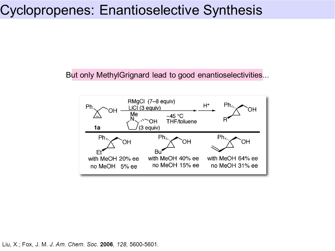 Cyclopropenes: Enantioselective Synthesis Liu, X.; Fox, J. M. J. Am. Chem. Soc. 2006, 128, 5600-5601. But only MethylGrignard lead to good enantiosele