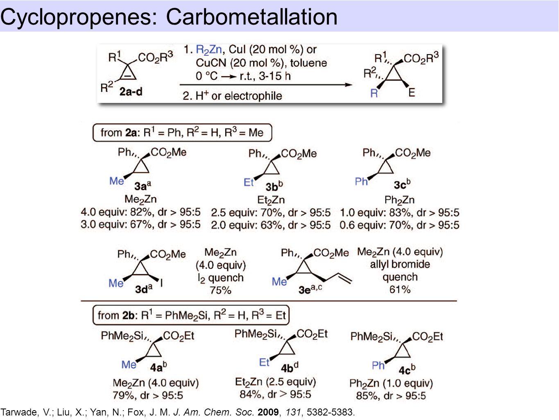 Cyclopropenes: Carbometallation Tarwade, V.; Liu, X.; Yan, N.; Fox, J.