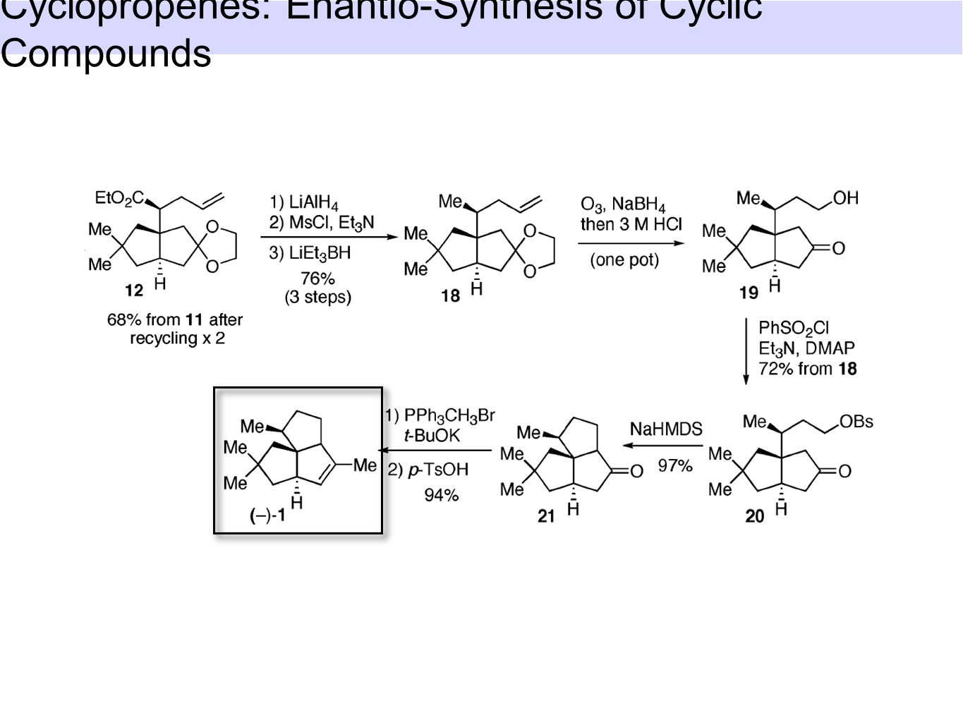 1.Syntheses of cyclopropenes 1.1 Racemic syntheses 1.2 Enantioselective syntheses 2.