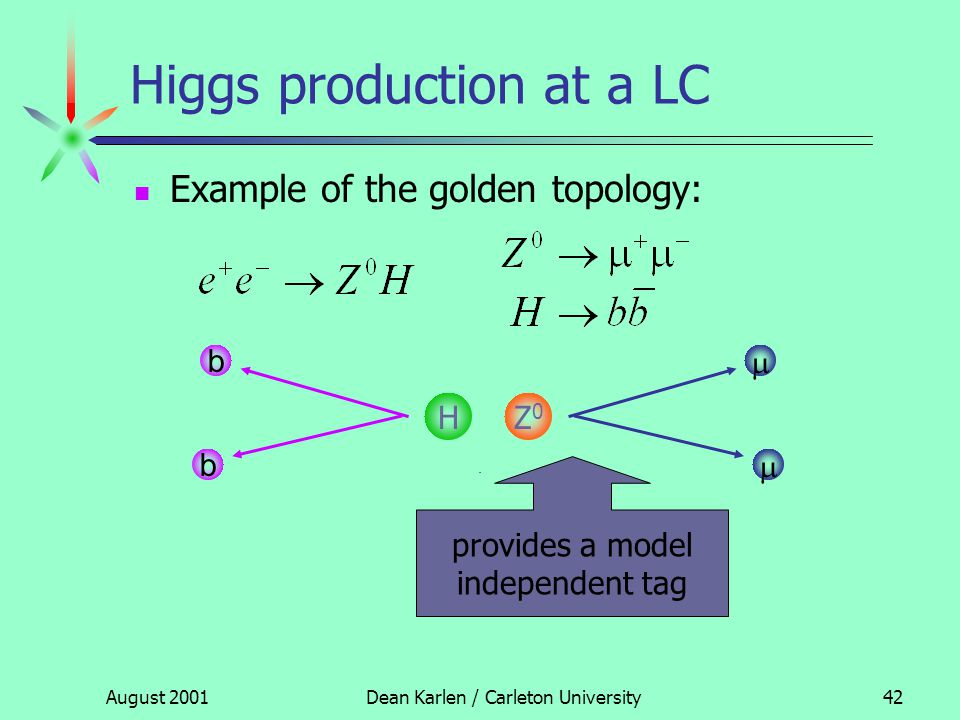 August 2001Dean Karlen / Carleton University41 The golden processes At LEP the golden processes for studying the electroweak sector were: At the LC the golden processes for studying the Higgs sector are: LEP beam energies were not sufficiently high enough for these process to occur