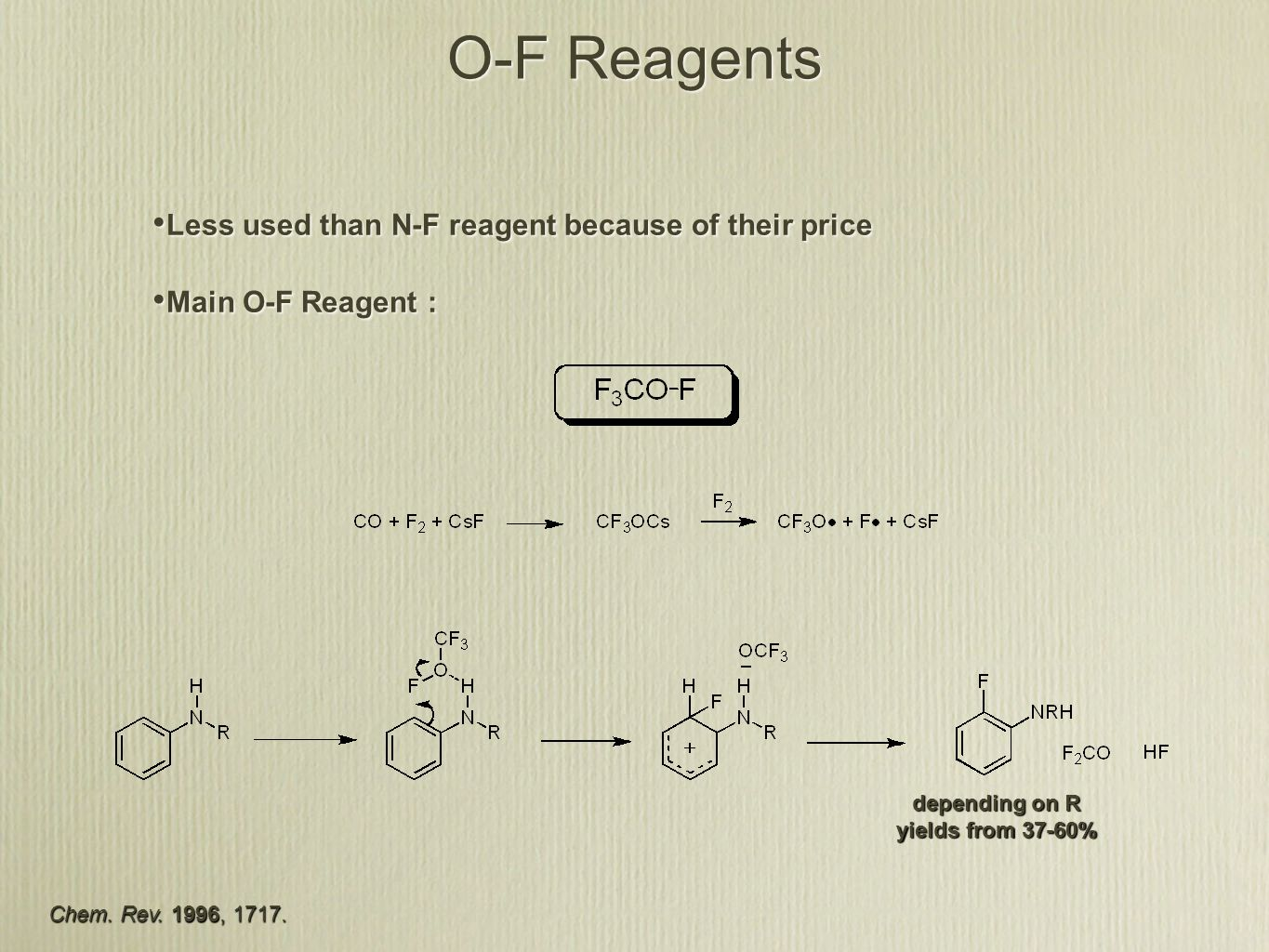 O-F Reagents Less used than N-F reagent because of their price Main O-F Reagent : Less used than N-F reagent because of their price Main O-F Reagent : depending on R yields from 37-60% Chem.