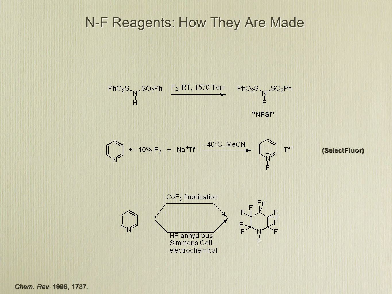 N-F Reagents: How They Are Made Chem. Rev. 1996, (SelectFluor)
