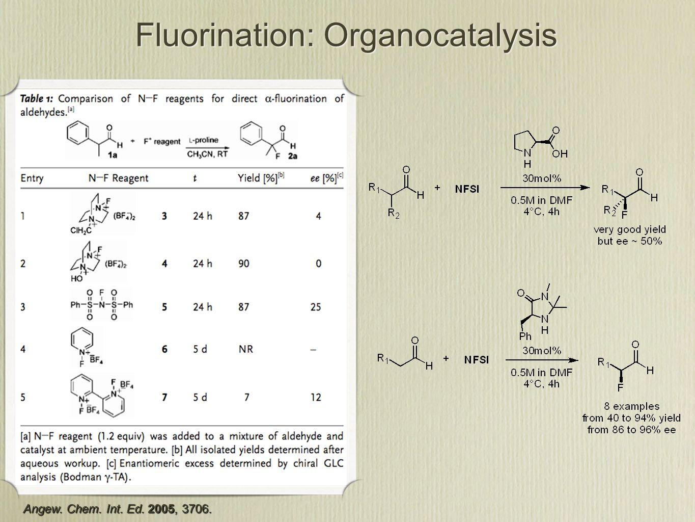 Fluorination: Organocatalysis Angew. Chem. Int. Ed. 2005, 3706.