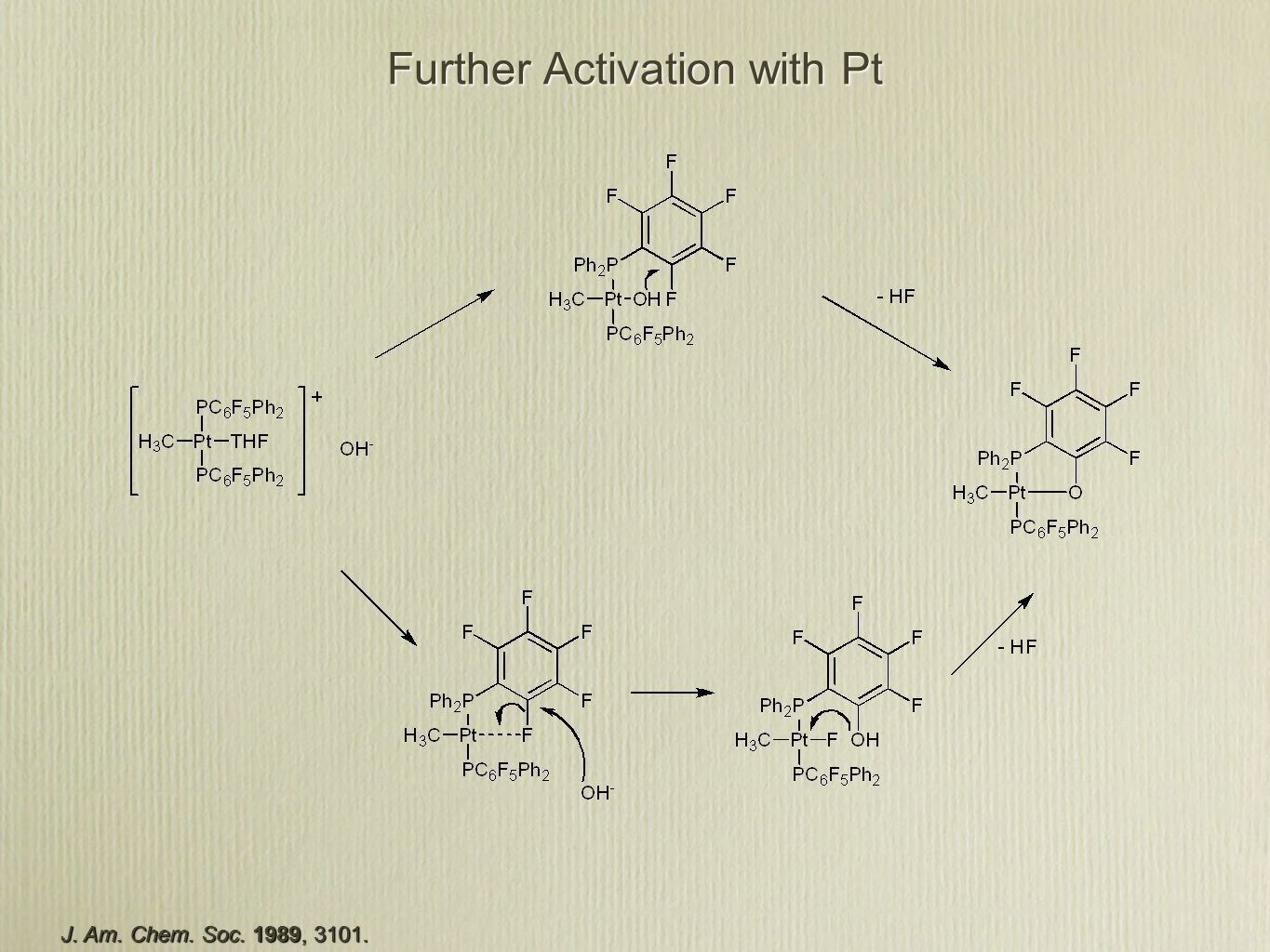 Further Activation with Pt J. Am. Chem. Soc. 1989, 3101.