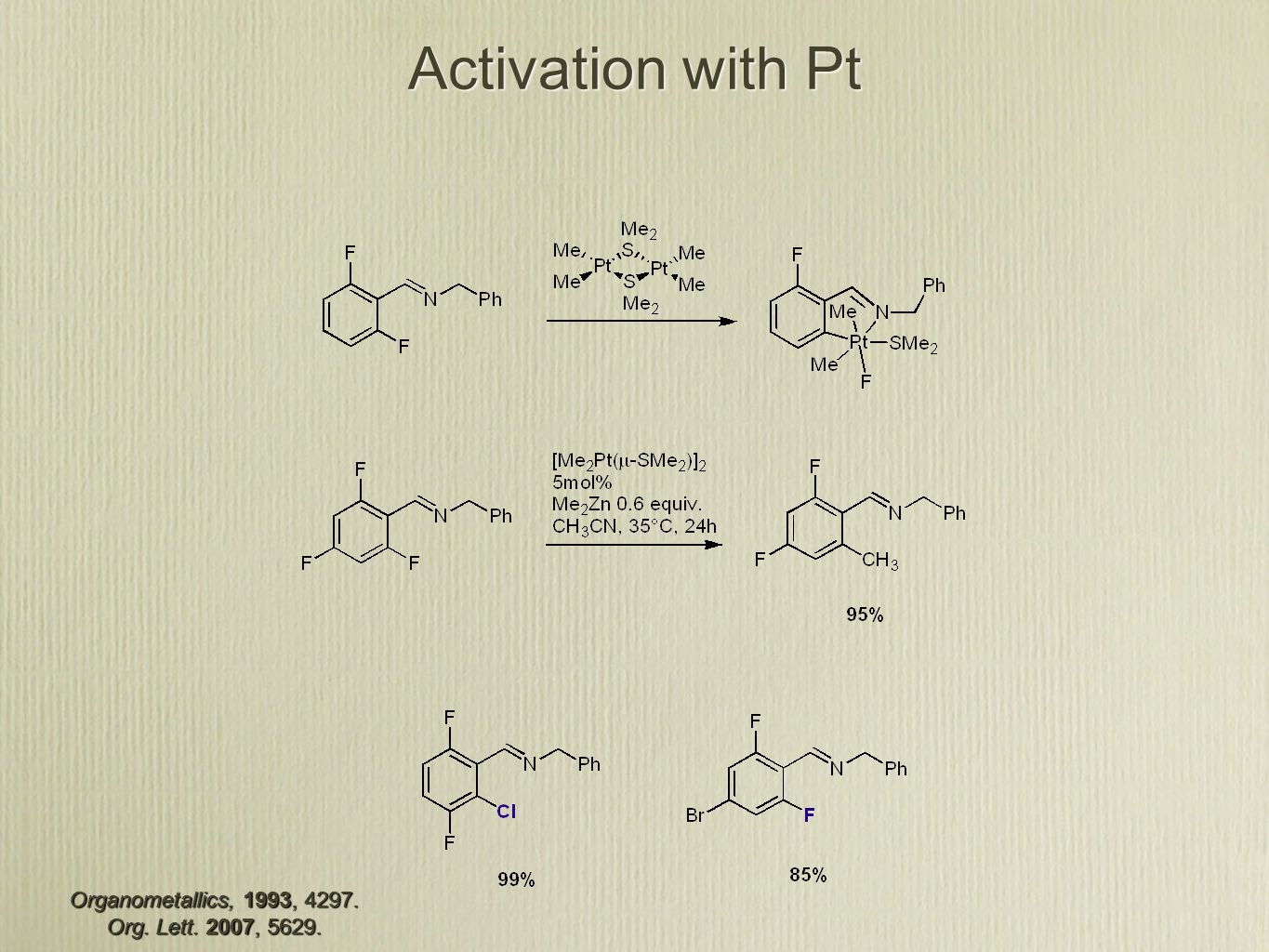 Activation with Pt Organometallics, 1993, Org. Lett. 2007, 5629.