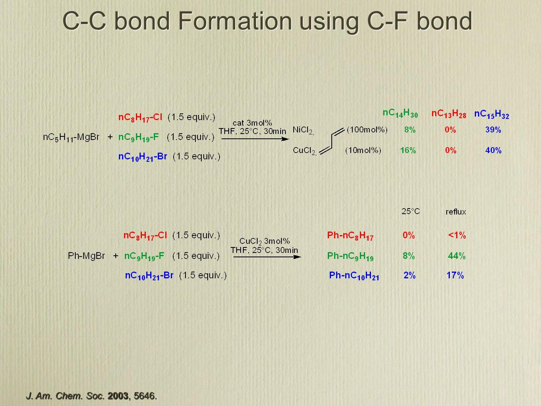 C-C bond Formation using C-F bond J. Am. Chem. Soc. 2003, 5646.