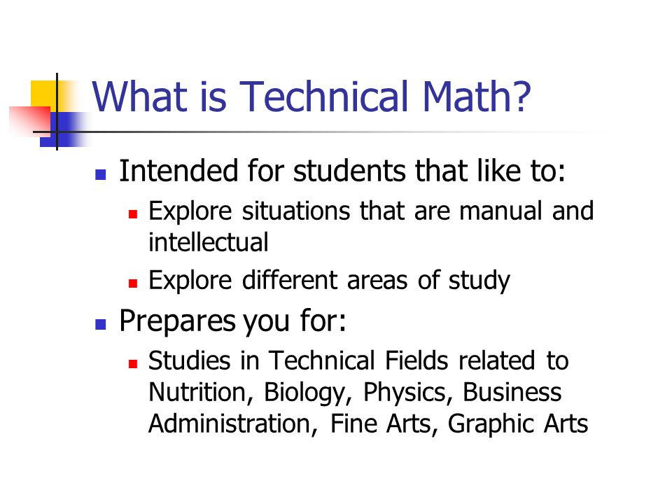 What is Technical Math.