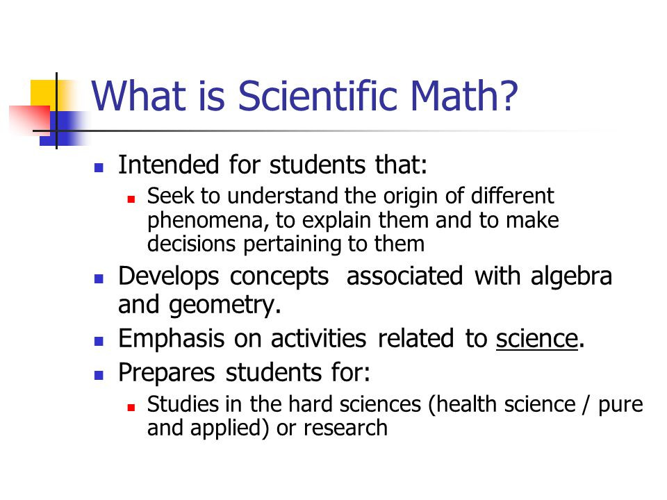 What is Scientific Math.