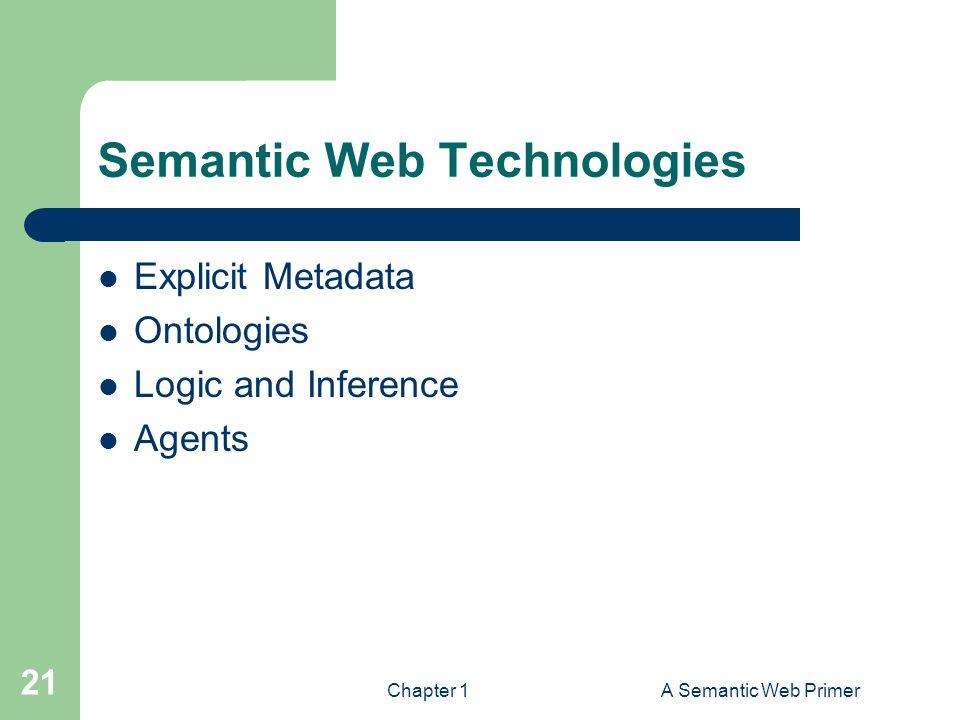 Chapter 1A Semantic Web Primer 21 Semantic Web Technologies Explicit Metadata Ontologies Logic and Inference Agents