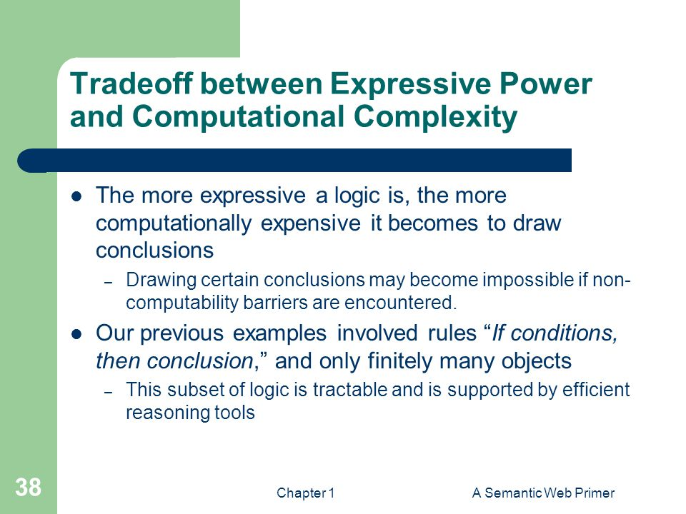 Chapter 1A Semantic Web Primer 38 Tradeoff between Expressive Power and Computational Complexity The more expressive a logic is, the more computationa