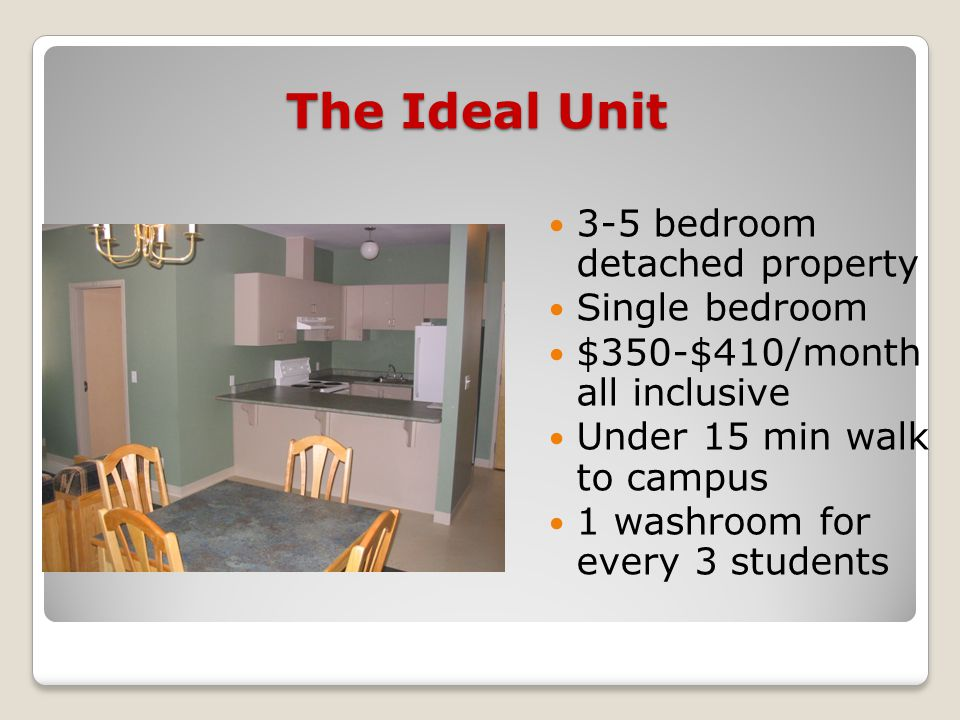 The Ideal Unit 3-5 bedroom detached property Single bedroom $350-$410/month all inclusive Under 15 min walk to campus 1 washroom for every 3 students