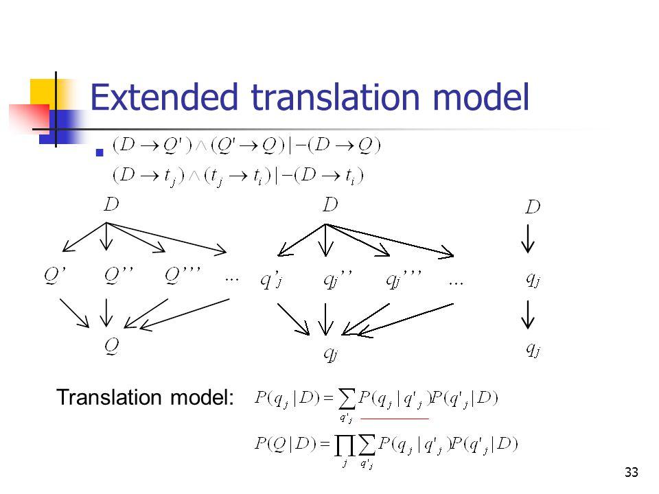 33 Extended translation model Translation model: