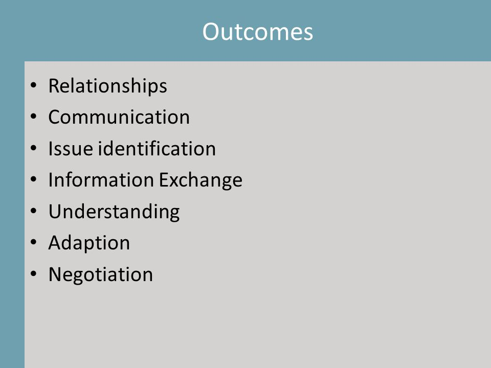 Outcomes Relationships Communication Issue identification Information Exchange Understanding Adaption Negotiation Outcomes