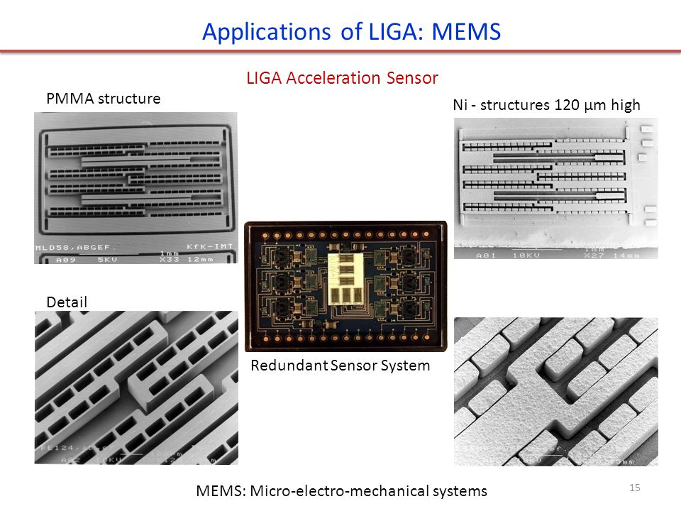 Applications of LIGA: MEMS LIGA Acceleration Sensor PMMA structure Detail Ni - structures 120 μm high Redundant Sensor System MEMS: Micro-electro-mech