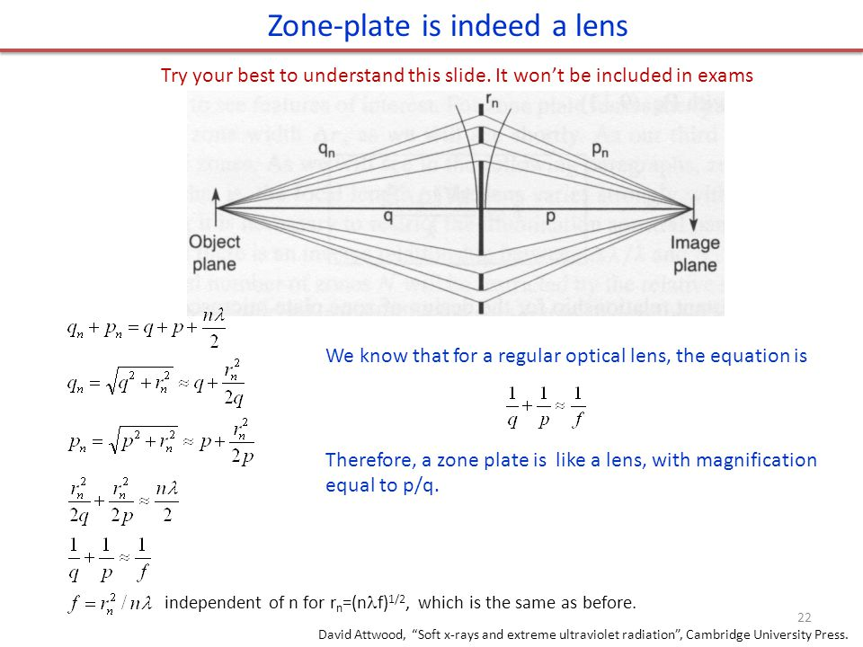 Zone-plate is indeed a lens We know that for a regular optical lens, the equation is Therefore, a zone plate is like a lens, with magnification equal
