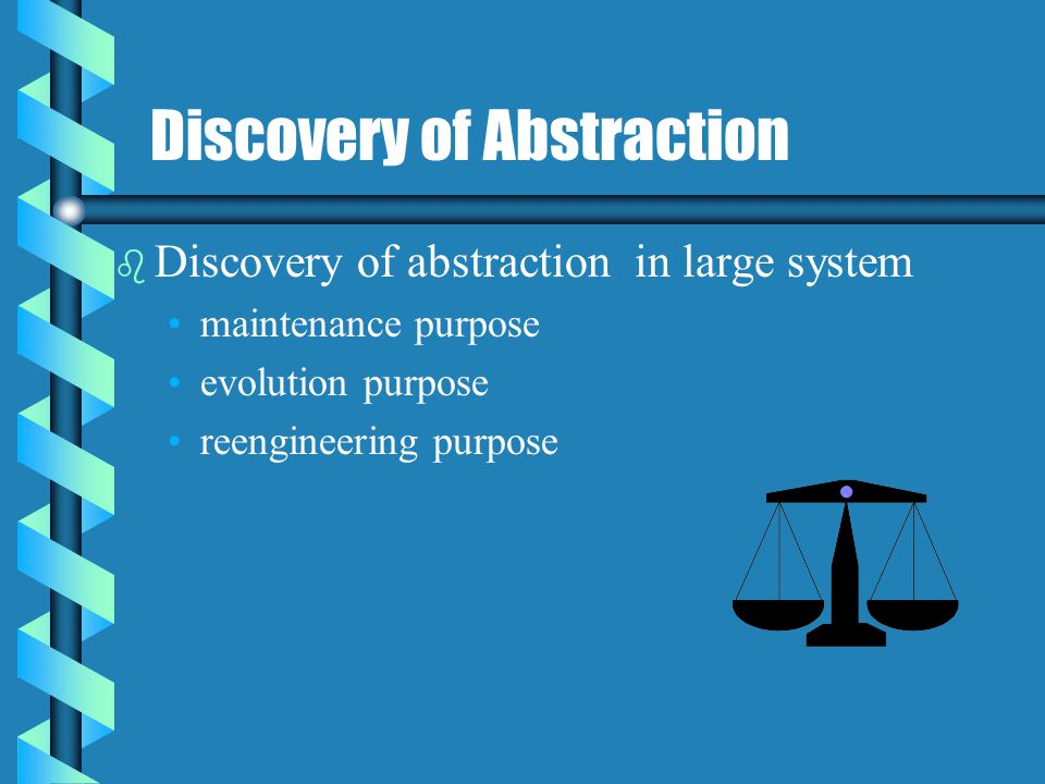 Scope and Task of Reverse Engineering b b Redocumentation and/or document generation b b Recovery of design approach and design details at any level of abstraction b b Identifying reusable components and components that need restructuring b b Recovering business rules b b Understanding high-level system description.